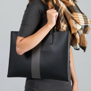 VINCE CAMUTO Luck Tote Black Gray vegan leather